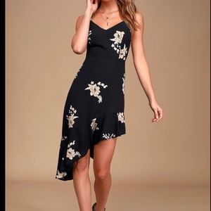 Lulus black floral asymmetrical strap dress, Med